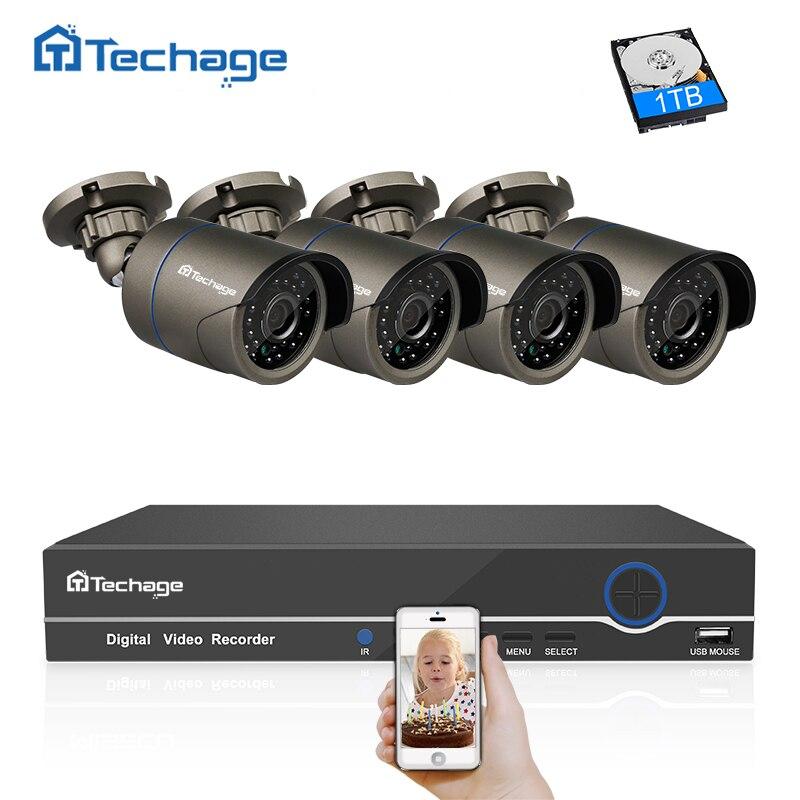 Techage 1080 p POE CCTV Système 4CH 48 v NVR Kit Intérieur Extérieur 2MP Caméra IP De Sécurité À Domicile P2P Vidéo POE Système de Surveillance Ensemble