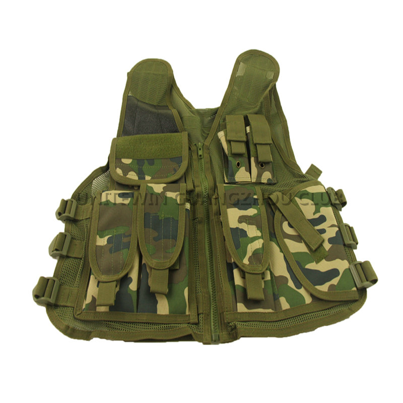 Military Tactical Vest Paintball Army Gear Carrier Airsoft Combat Vest For Hunting Shooting Woodland Green