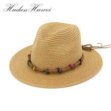 Verano playa sombrero de sol hombres Casual vacaciones Panamá sombrero de paja  para las mujeres Brim 752bb02c185
