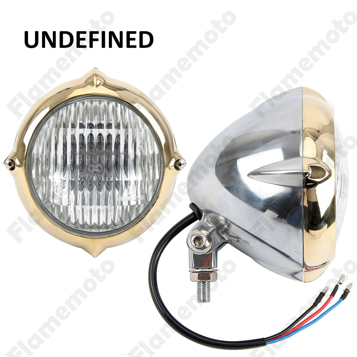 Motorcycle Parts High Quality Aluminium 5.5 Chrome Vintage Headlight 10mm For Cafe Racer Old School Copper Ring UNDEFINED