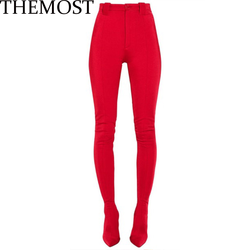 THEMOST New Pants Thigh high Boots Women Pointed Sexy Stilettos Elastic Sock Waist Bootcuts High Heel Plus Size botas Woman alfani plus size new white golden waist pleated palazzo pants 18w $89 5 dbfl