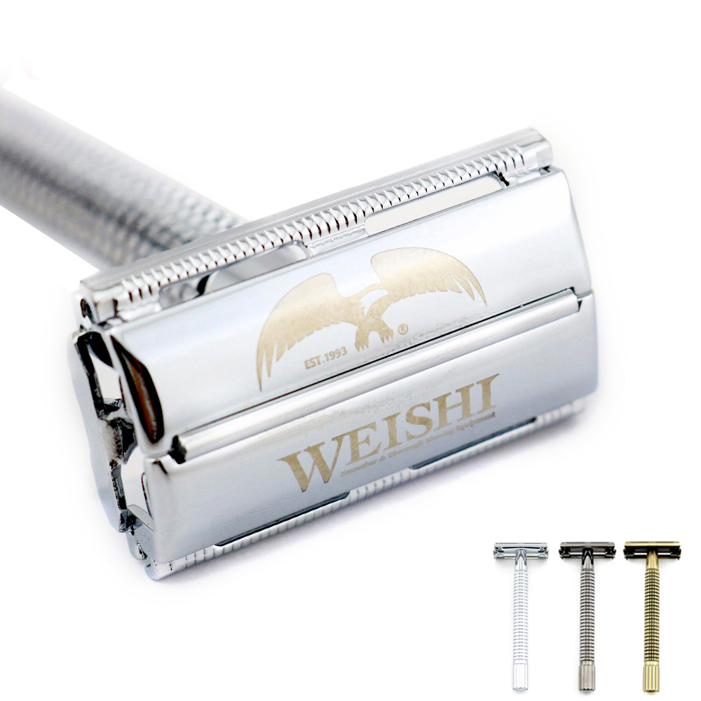 WEISHI Safety Razor Butterfly Long Handle Double-edged Shaving Razor 9306FL 9306CL 9306IL Silvery Gun Color Bronze NEW
