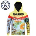 New Style Men's Stylish Autumn Long Sleeve 3D Print Chicken Flavor Food Pattern Hoody Sweatershirts with Hat Pullover Sportwear