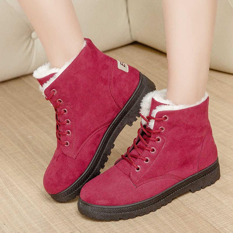 คลาสสิกข้อเท้ารองเท้าผู้หญิงหญิงฤดูหนาวรองเท้าหนังนิ่มหญิงขนสัตว์ Plush พื้นรองเท้าคุณภาพสูง Botas Mujer Lace - Up