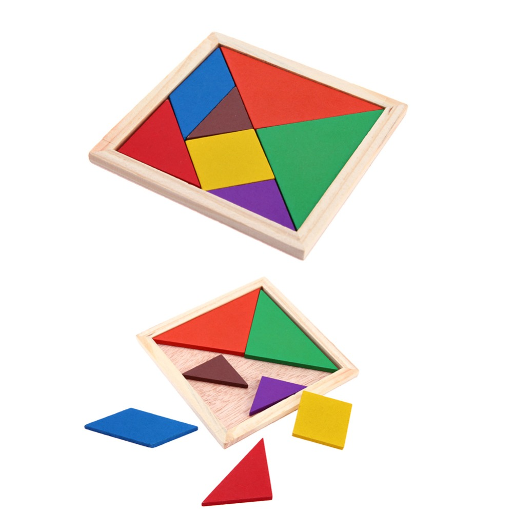 Kids Colorful DIY Jigsaw Puzzle Wooden Toys Geometric Shape 3D Puzzle Tangram Toy Early Childhood Educational Toys For Children