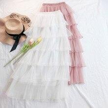 AcFirst Autumn Women Fashion Pink White Black Skirt High Waist Lace Ruffles Pleated Ankle Length Long Chiffon