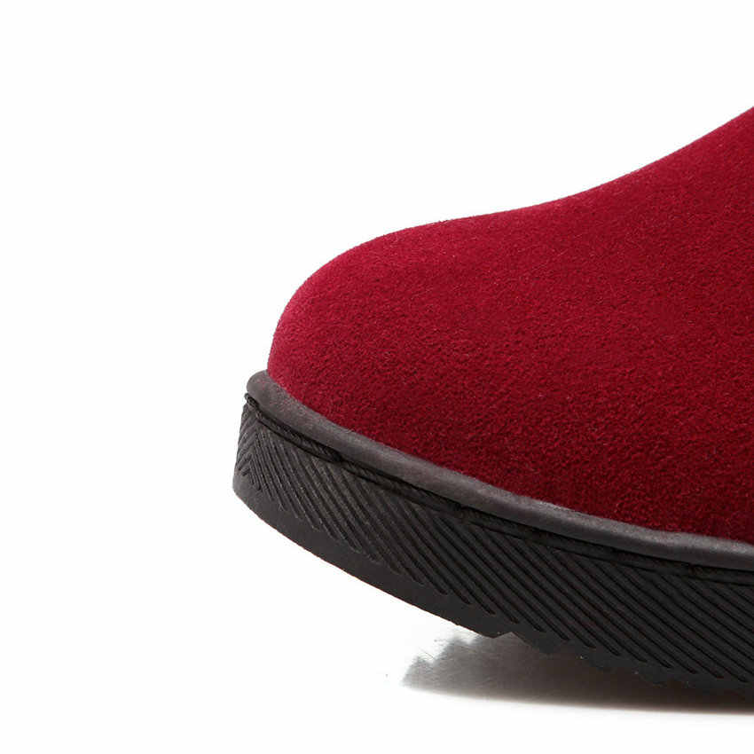 QUTAA 2019 Kadınlar Orta Buzağı Çizmeler üzerinde Kayma Zarif Kadın Ayakkabı Siyah Yuvarlak Ayak Akın Kış çizmeler kadın ayakkabıları Çizmeler Büyük Boy 34-40