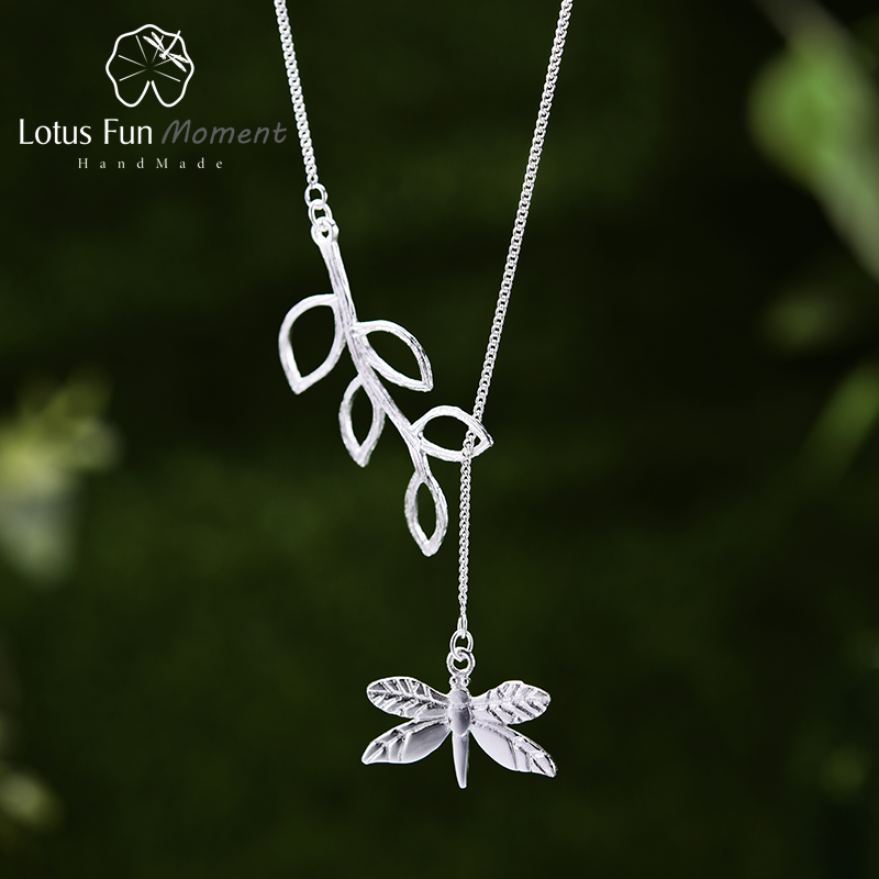 Lotus Fun Moment Real 925 Sterling Silver Designer Fashion Jewelry Cute Dragonfly Leaves Necklace with Pendant for Women Collier lotus fun moment real 925 sterling silver designer fashion jewelry fashion love heart tassel pendant without necklace for women