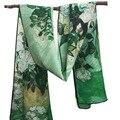 Розы 160x45 см Оптовая 2017 Новый Шелковый Шарф Китай креп прямоугольник шарф цифровой знаменитой картины шарф