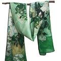 Rosas 160x45 cm Al Por Mayor 2017 Nueva Bufanda De Seda crepé de China famosa pintura rectángulo bufanda digital bufanda