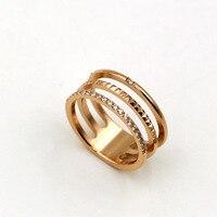 Three Layers Zircon Titanium Stainless Steel Rings For Men Women Jewelry Fashion Gear Micro Inlay Lozenge