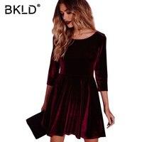 BKLD Autumn2018 Velluto Rosso A-line del Vestito Delle Donne Manicotto Dei Tre Quarti O-Collo Del Vestito Elegante Partito Skater Dress Office Lady Work Wear