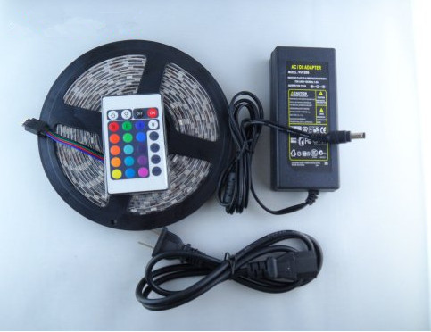 CE&RoHS,New RGB Led Strip Light Waterproof 5M SMD 5050 300 LEDs/Roll + 24 keys IR Remote Controller + 12V6APower Adapter