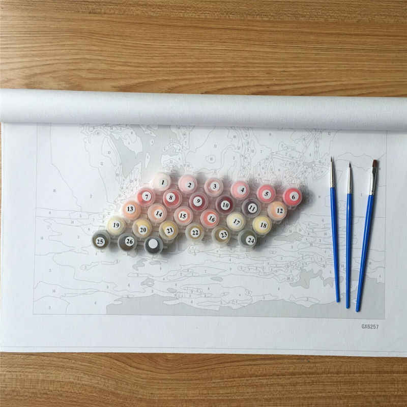Frameless Singa Raja Minyak DIY Lukisan Dengan Nomor Kit Menggambar cat Pada Kanvas Seni Gambar Dinding Untuk ruang tamu GX7279 40*50 cm