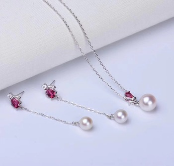 S925 Sterling Silver Pearl Party Necklace Earrings Set Mounts Findings Exquisite Jewelry Set Parts Fittings Women's Accessories