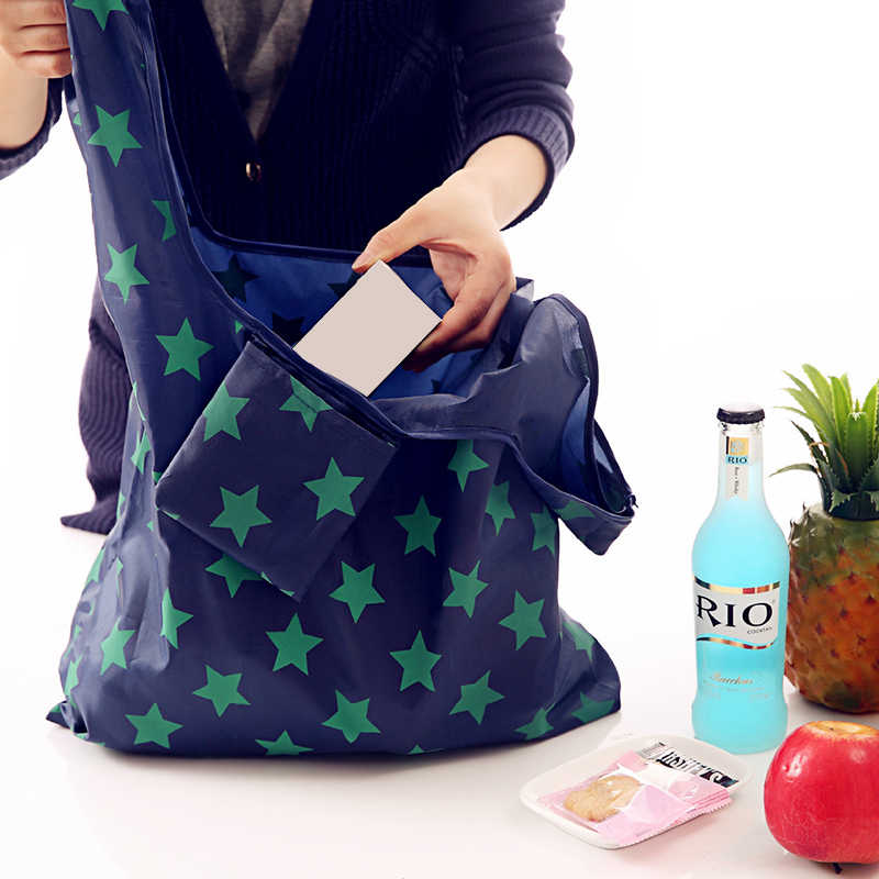 Fashion Printing Foldable Reusable Green Shopping Bag Tote Folding Pouch Handbags Convenient Large-capacity Storage Market Bags