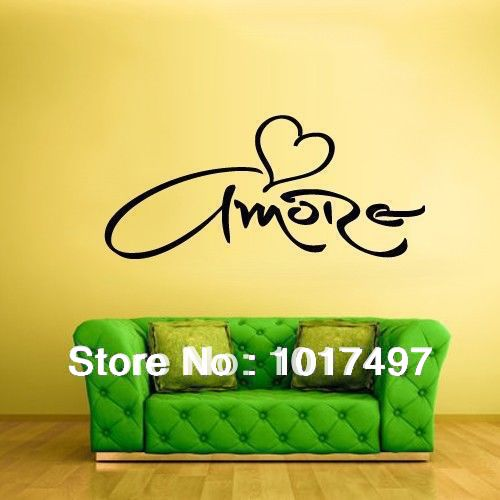 free shipping Amore Love Heartt Wall Decal Vinyl Sticker Italian Language  Wall Decal Stickers Bedroom. free shipping Amore Love Heartt Wall Decal Vinyl Sticker Italian