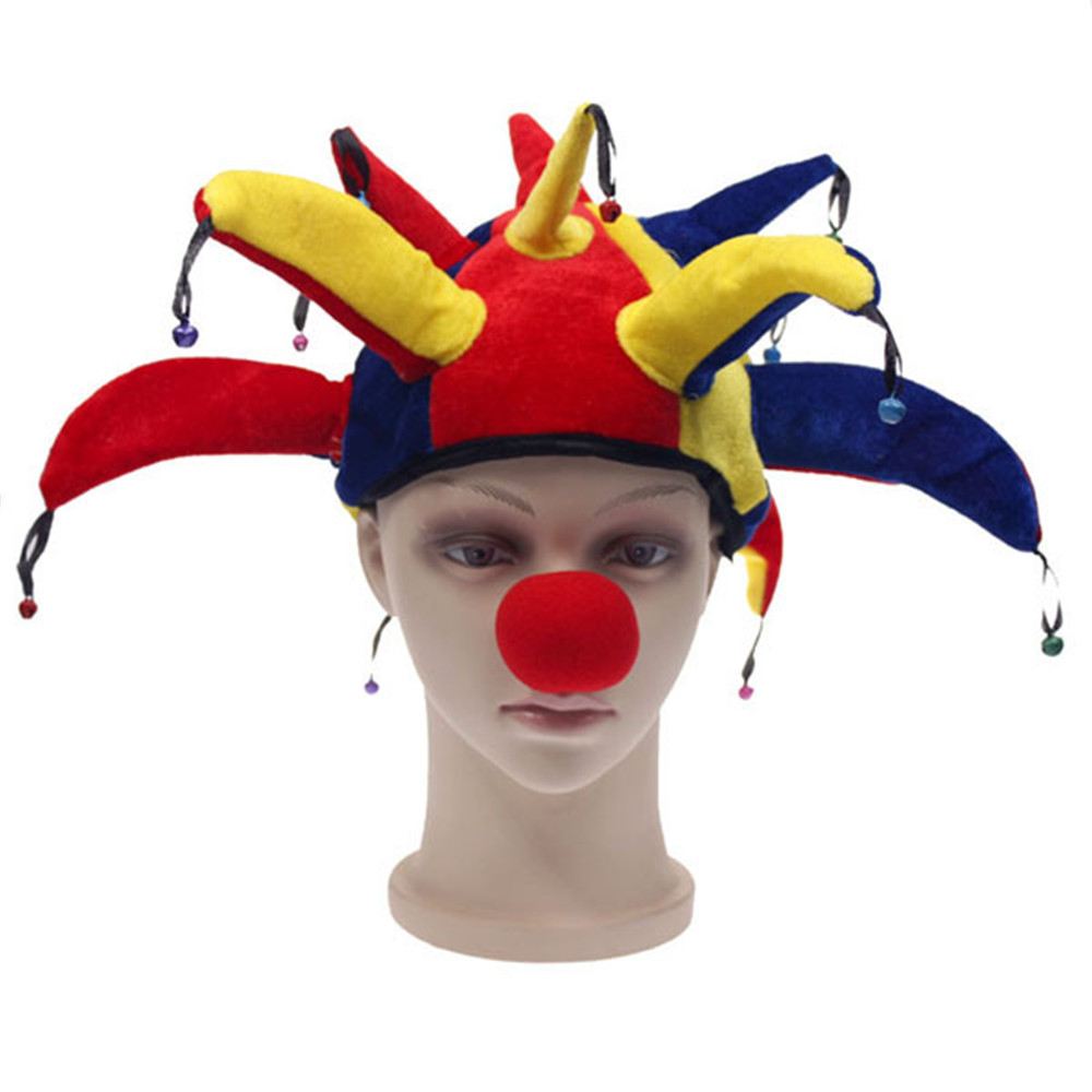 Adult Child Carnival Clown Costume Funny Halloween Masquerade Colorful Decoration Cosplay Clown Hat +Red Nose