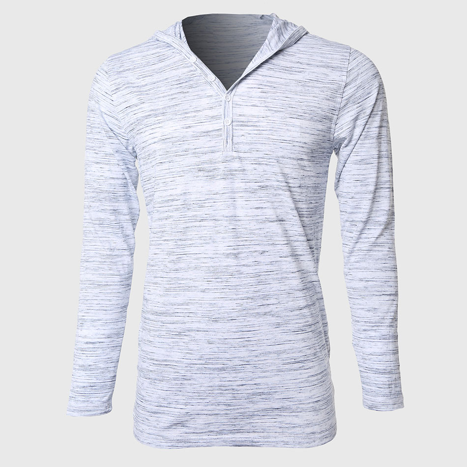 Long Sleeve Hooded T Shirts Men Casual Basic Tee Shirts Button ...