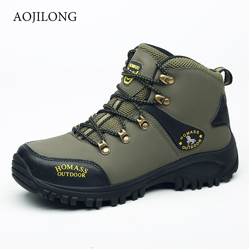 Outdoor Hiking Shoes Man Waterproof Hiking Boots Warm High Top Mountain Climbing Camping Shoes Trekking Hunting Footwear