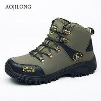 Outdoor Hiking Shoes Man Waterproof Hiking Boots Warm High Top Mountain Climbing Camping Shoes Trekking Hunting Footwear