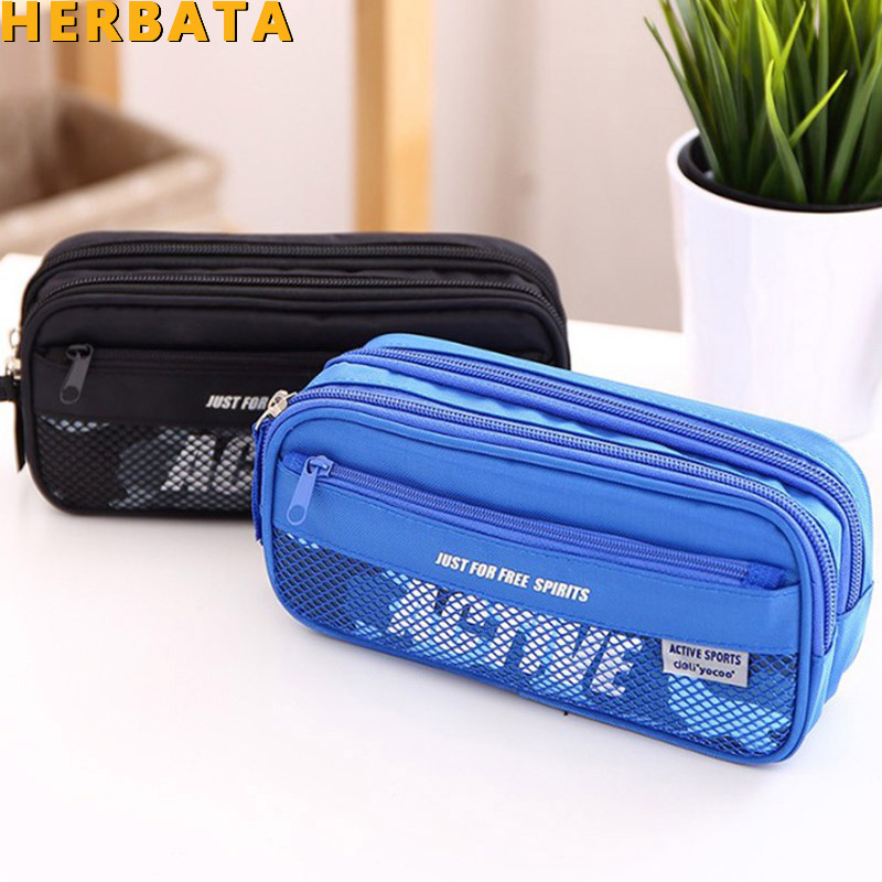 New Boys Large Capacity Oxford Multifunctional Pencil Bag Durable Pencil Case Multi-Layer Children Student School Storage Pouch