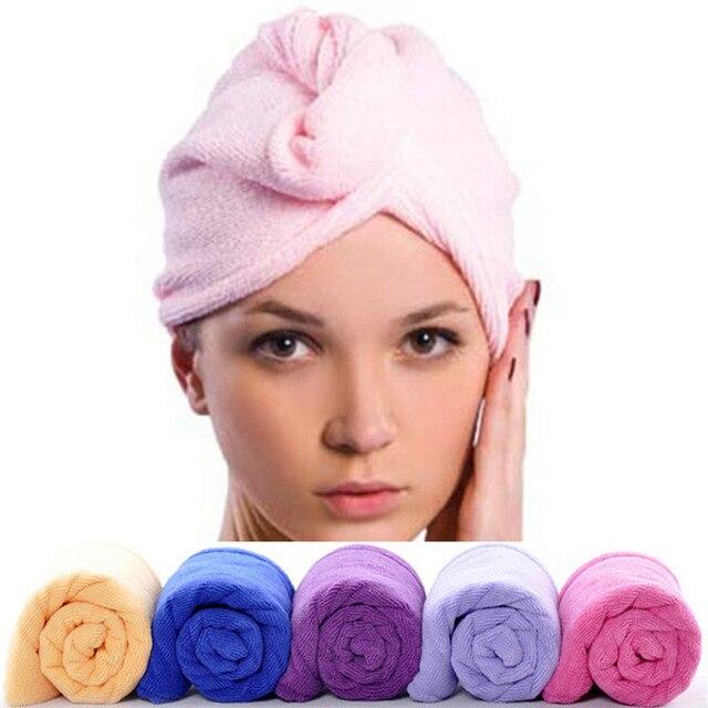 Radom Renk 1 ADET 59*26 cm Hızlı Kuru Mikrofiber Havlu Saç Sihirli Kurutma Turban Wrap Şapka Kap Spa banyo Sıcak