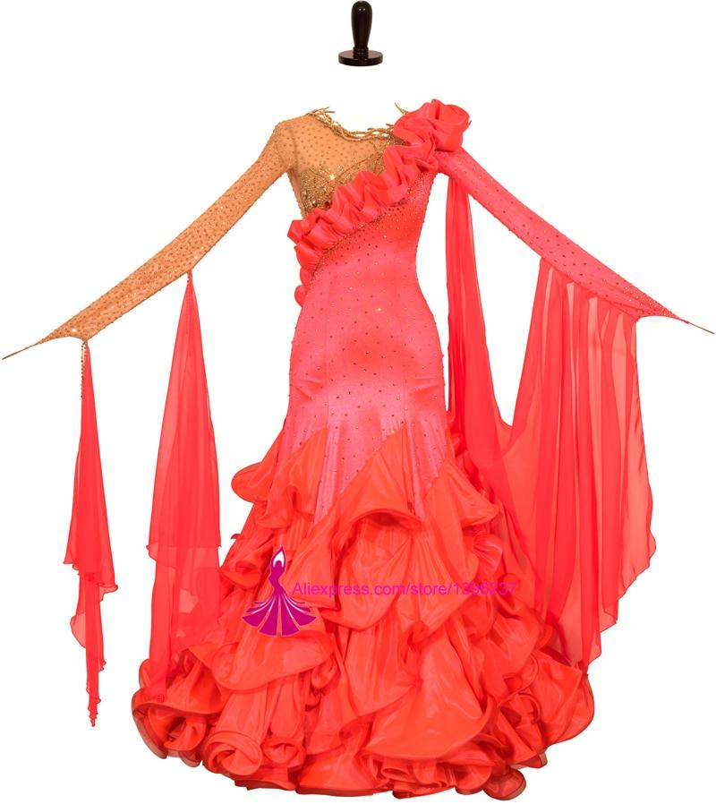 Competition Ballroom Dancing Dress 2018 New High Quality Red Modern Tango Flamenco Waltz Dance Costume Smooth Ballroom Dresses