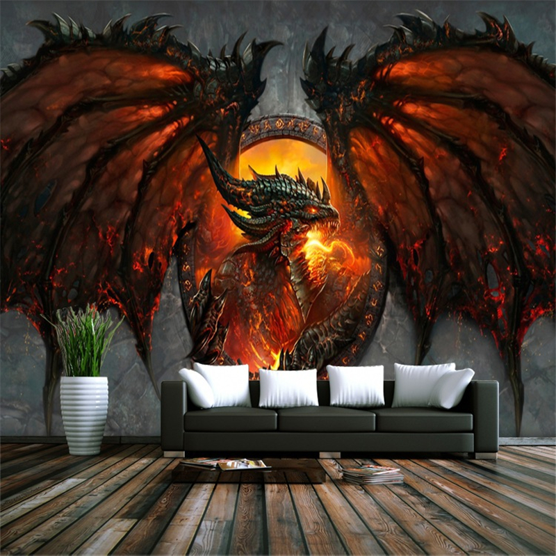 beibehang Custom photo background wallpaper mural painting the living room TV cartoon dragon painting 3D large mural wallpaper large yellow marble texture design wallpaper mural painting living room bedroom wallpaper tv backdrop stereoscopic wallpaper