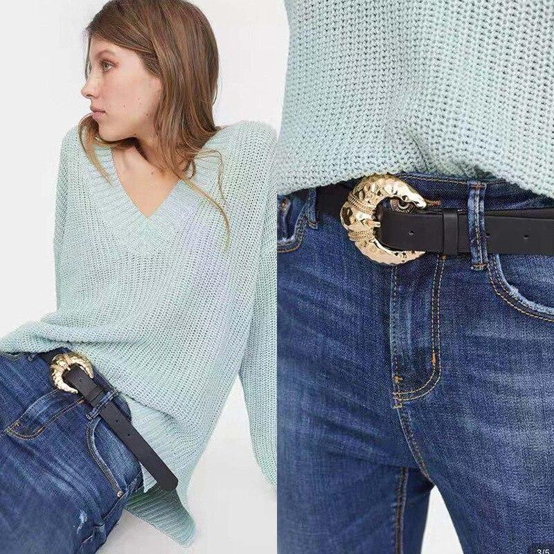 Women Jeans Belt Fashion Design Women Gold Buckle Waist Belts Leather Strap High Quality Cummerbund Waistband For Girl Dress