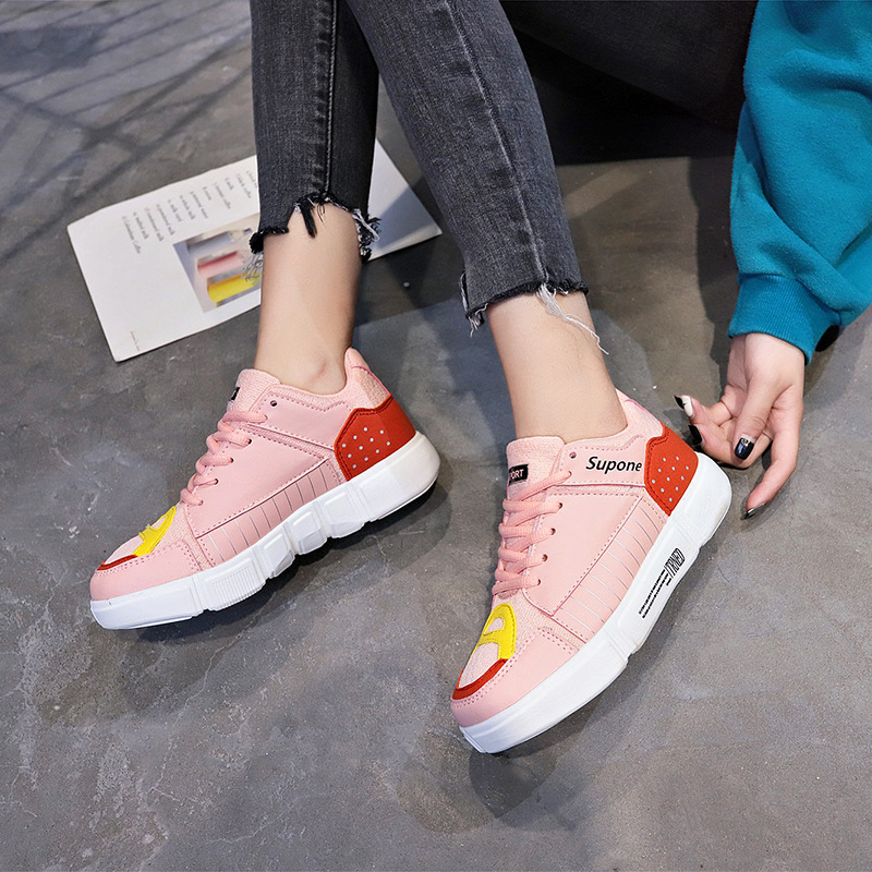 Women Sneakers 2019 Leather  Luxury Shoes Women Designers  Platform Sneakers New Women's Breathable Lace-up White Shoes