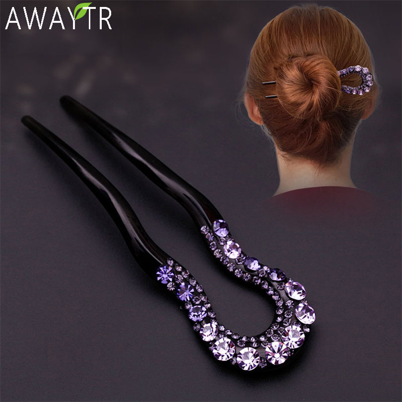 AWAYTR Vintage Hair Accessories Crystal Hairpins U-Shape Hair Stick Pin Women Rhinestone Flower Hairpin Hairclips Fashion Combs