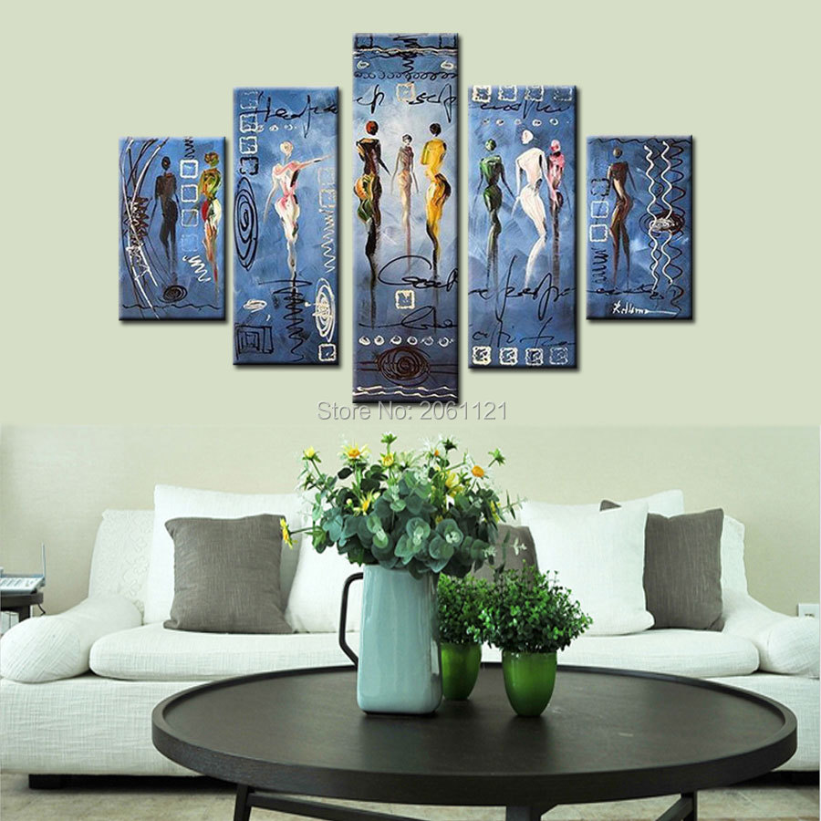 Free dancing party! 100% High Quality Home Wall large fashion Decorations BLUE Modern Abstract Oil Painting on canvas pop art