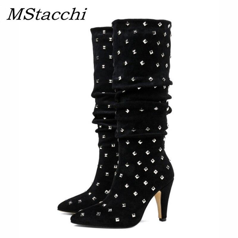 Mstacchi Black Hautes Femmes Dernières Clouté Talons Rivets Celebrity Métalliques Bottes Piste Plein Bout Pointu Hauts Chaussures Yfby7I6gv