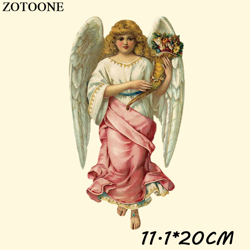 ZOTOONE Retro Style Angel Patch Iron On Transfer Iron Flower Patches For Clothing Girls T shirt Thermal Press Appliques DIY D in Patches from Home Garden