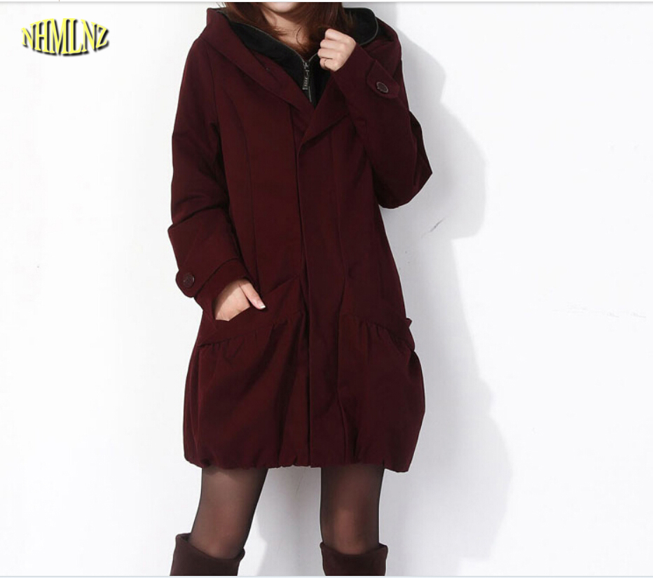 New Style Fashion Women Winter Cotton Padded Clothes Elegant Hooded Big Yards Medium Long Coat