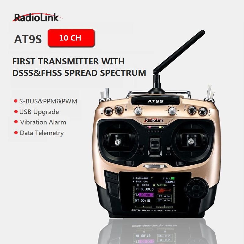Original Radiolink AT9S R9DS Radio Remote Control System DSSS FHSS 2.4G 10CH Transmitter Receiver for RC Helicopter/RC BOAT 1pc radiolink rc3s 4ch 2 4g digital radio control system gun transmitter r4eh receiver lcd programable for rc car boat wholesale