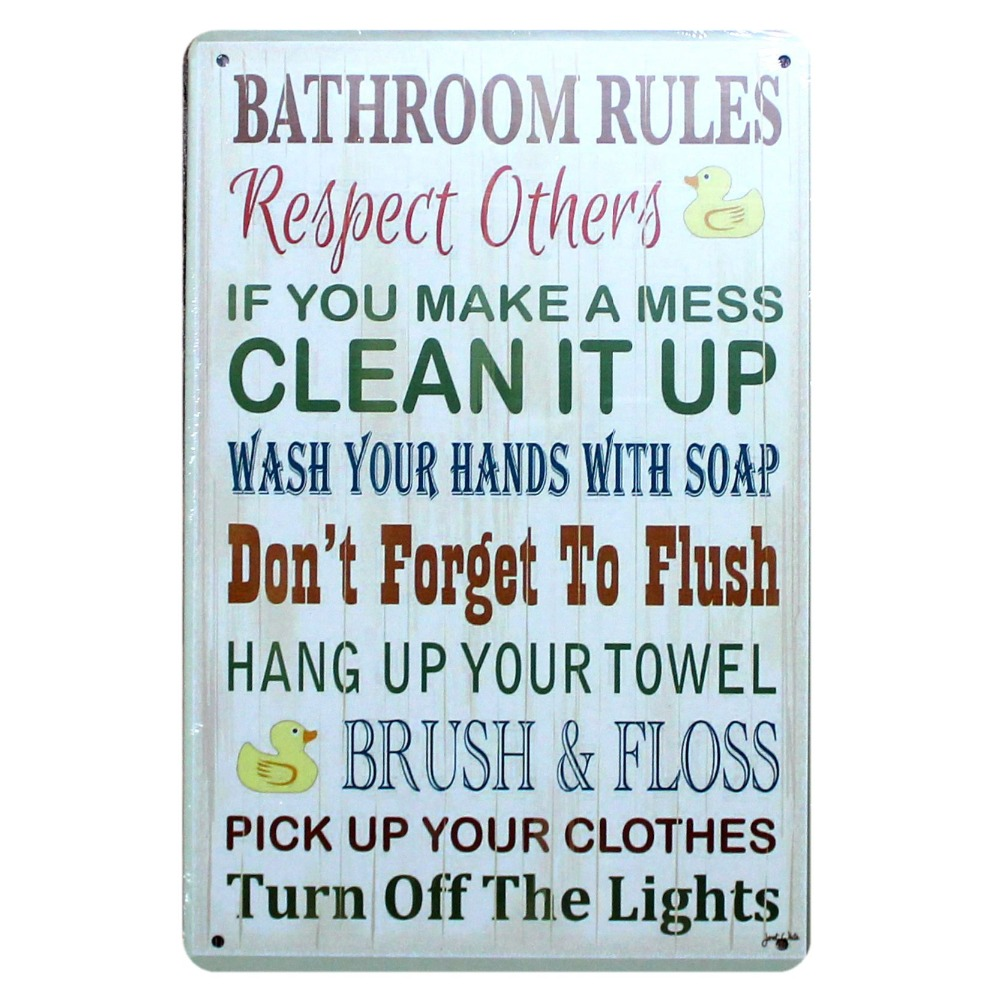 Kitchen Family Rules Retro Tin Signs Metal Painting Wall Bar Home ...