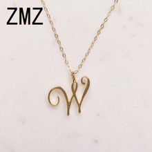 hot deal buy zmz 50pcs/lot 2018 europe/us fashion english letter pendant lovely letter w text necklace gift for mom/girlfriend party jewelry