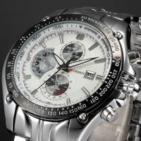 2013 Curren Dial Water Quartz Hours Date Silver Hand Sport Men Steel Wrist Watch Top Brand