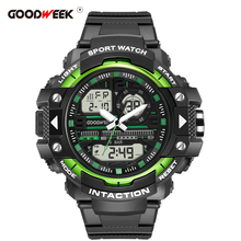 GOODWEEK Fashion Casual Men Sport Watch Chronograph Multifunction Waterproof Led Digital Mens Quartz Watch Dual Display Watches