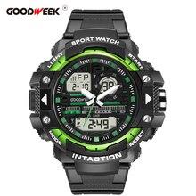 GOODWEEK אופנה מקרית גברים ספורט שעון הכרונוגרף תכליתי עמיד למים Led דיגיטלי גברים של קוורץ שעון תצוגה כפולה שעונים