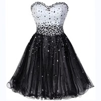 New Fashion Sexy Short Prom Dress Sweetheart Sparkle Crystal Beaded Evening Dresses A Line Robe Cocktail Dress Vestidos Coctel