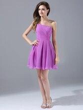 2015 Short Mini One-Shoulder Lila Mädchen Prom Kleider s Für Junioren Perlen Strand Chiffon Cocktailkleider Für Party cd7221