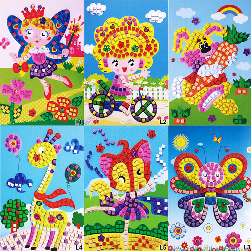 Diy crystal mosaic sticker kids children kindergarten for Boys arts and crafts