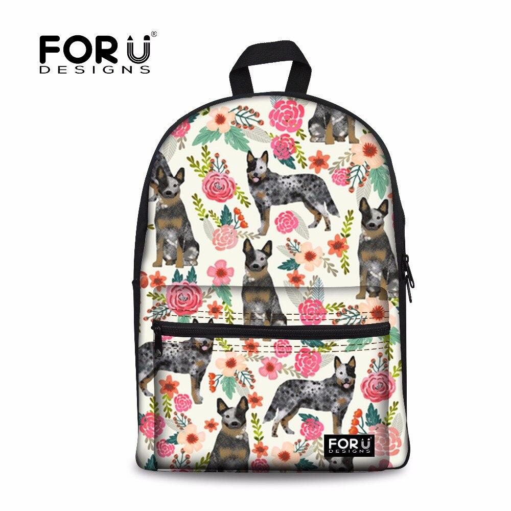 FORUDESIGNSโรงเรียนเด็กสุนัขวัวออสเตรเลียลายใบไม้ครีมพิมพ์โรงเรียนกระเป๋าสำหรับวัยรุ่นชายR Ucksack-ใน กระเป๋านักเรียน จาก สัมภาระและกระเป๋า บน title=