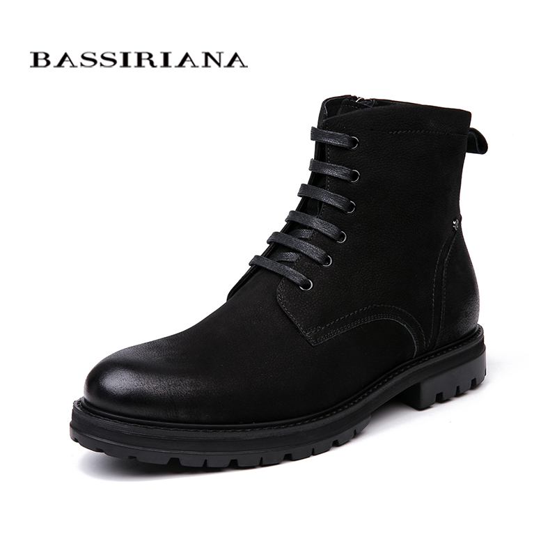 BASSIRIANA 2018 New Warm shoes from genuine leather mens winter winter boots with round toe without
