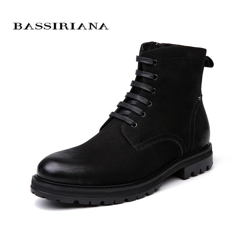 BASSIRIANA 2018 Nouvelles chaussures Chaudes de cuir véritable hommes d'hiver bottes d'hiver avec bout rond sans laçage sur doux nature laine