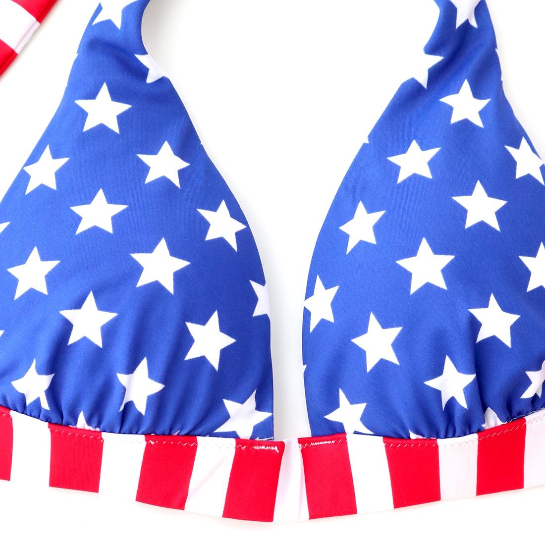 Swimsuits Bikini Bathing Suit Low Wait Wirt Free Print biquinis Women American Red Blue Star Flag Sexy Secret Swimwear 3