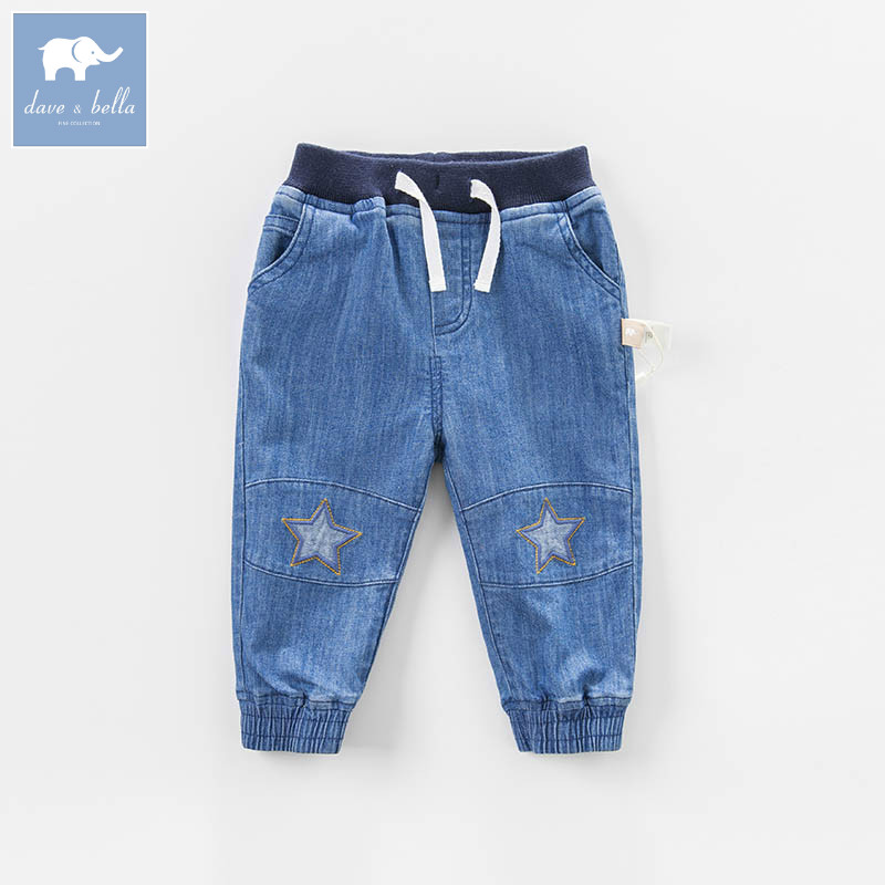 DBA6461 dave bella spring baby boys fashion denim blue stars print jean kids pants children boutique trousers fashion mens dot painted jeans pants slim fit straight printed denim joggers man ink splash black jean trousers brand designer